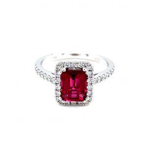 18k White Gold Rubellite and Diamond Halo Ring
