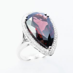14k White Gold Natural Rhodolite Garnet and Diamond Halo Ring