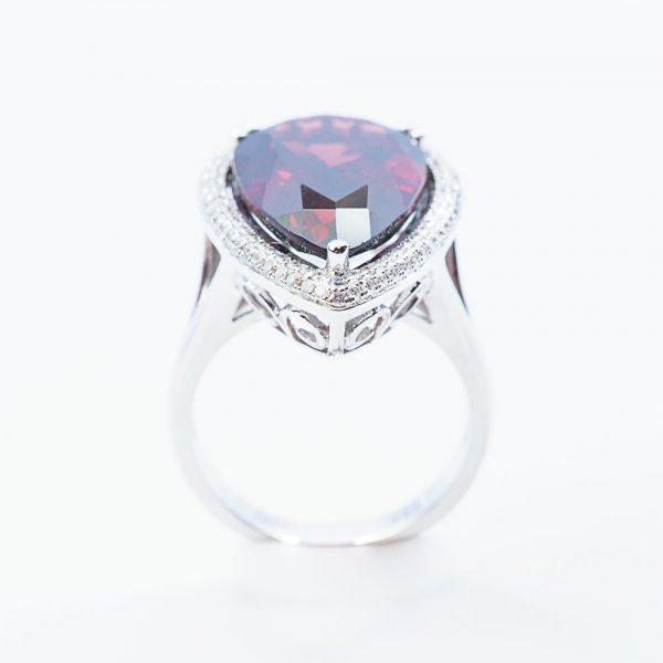 14k White Gold Natural Rhodolite Garnet and Diamond Halo Ring
