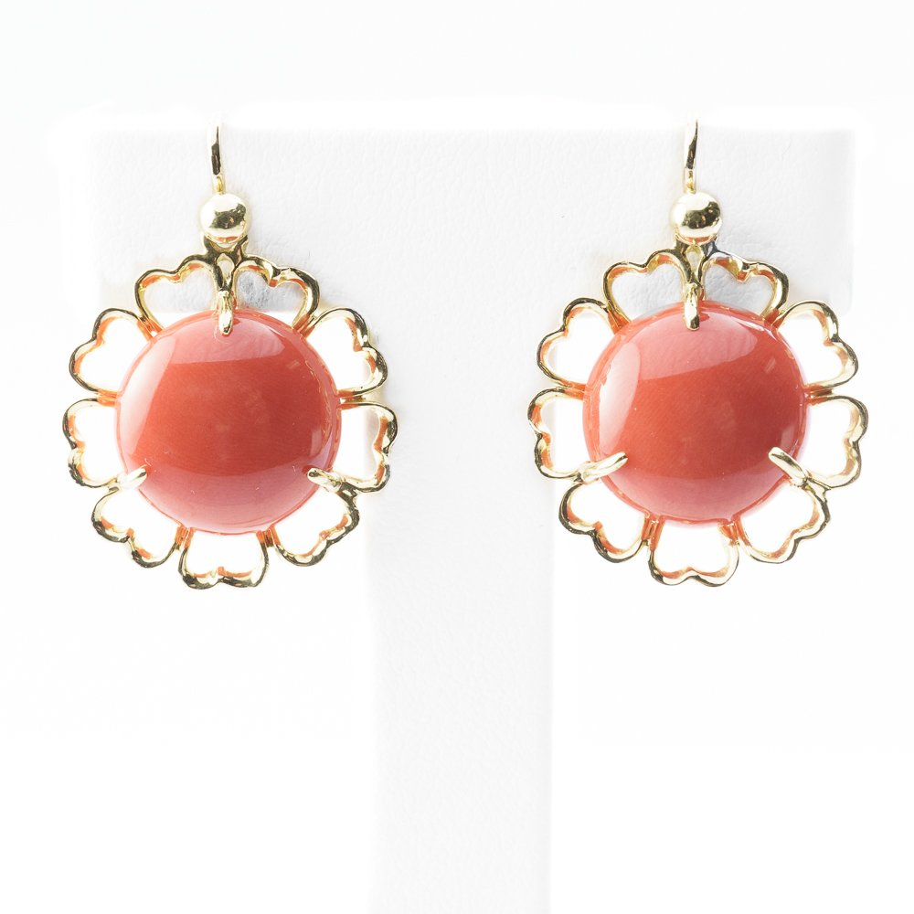 18k Yellow Gold Natural Red Coral Estate Earrings