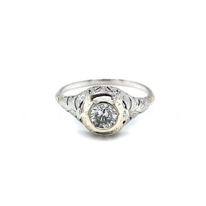 14k White Gold Diamond Vintage Filigree Estate Ring