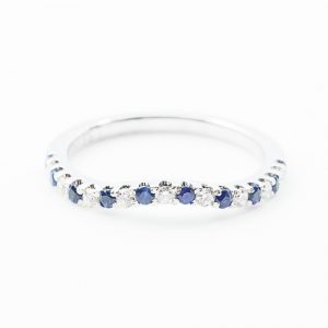 14k White Gold Natural Blue Sapphire and Diamond Contour Band