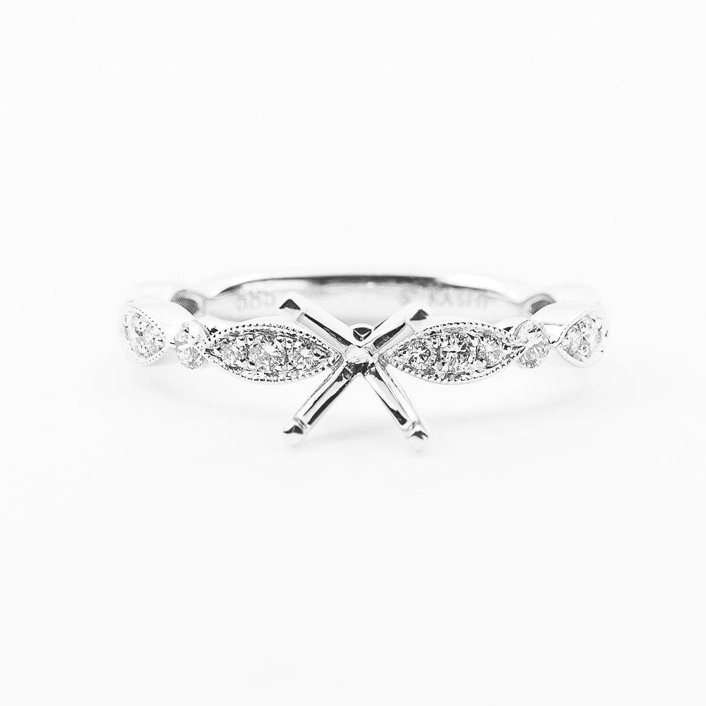 14k White Gold Natural Diamond Engagement Ring Semi-Mounting