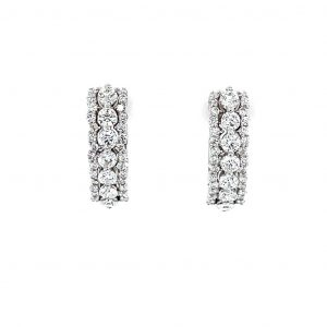 14k White Gold Natural Diamond 3 Row Huggie Hoop Earrings