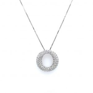14k White Gold Diamond Pave Open Circle Pendant