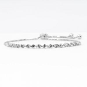 14k White Gold Natural Diamond Bollo Bracelet