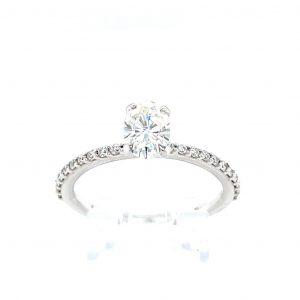 14k White Gold Forever One Oval Moissanite and Diamond Ring