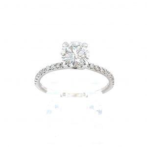 14k White Gold Forever One Round Moissanite and Diamond Ring