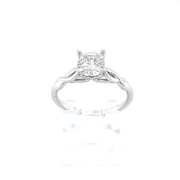14k White Gold Forever One Cushion Moissanite Ring