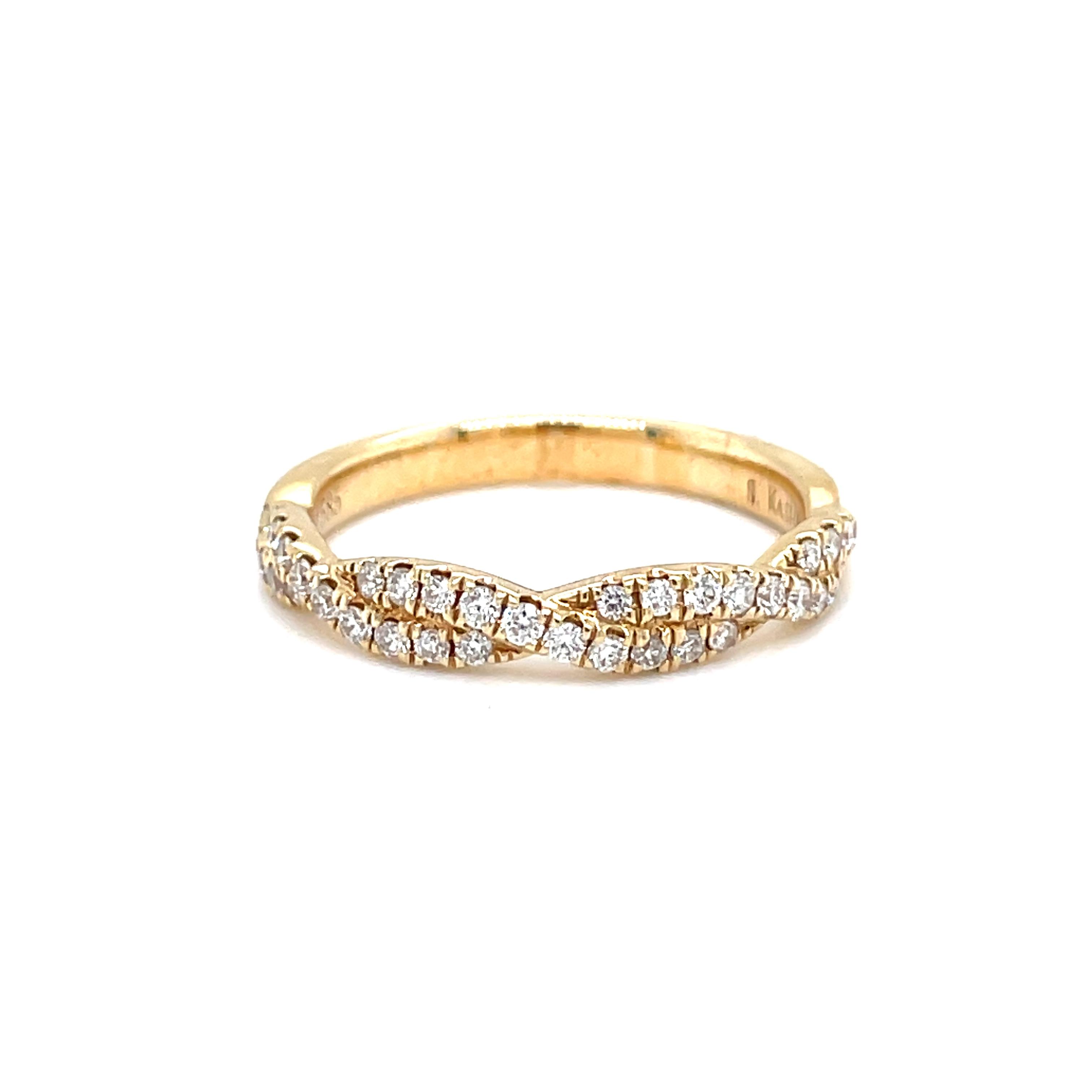 14k Yellow Gold Diamond Rope Twist Band