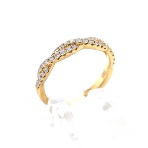 14k Yellow Gold Diamond Rope Twist Band