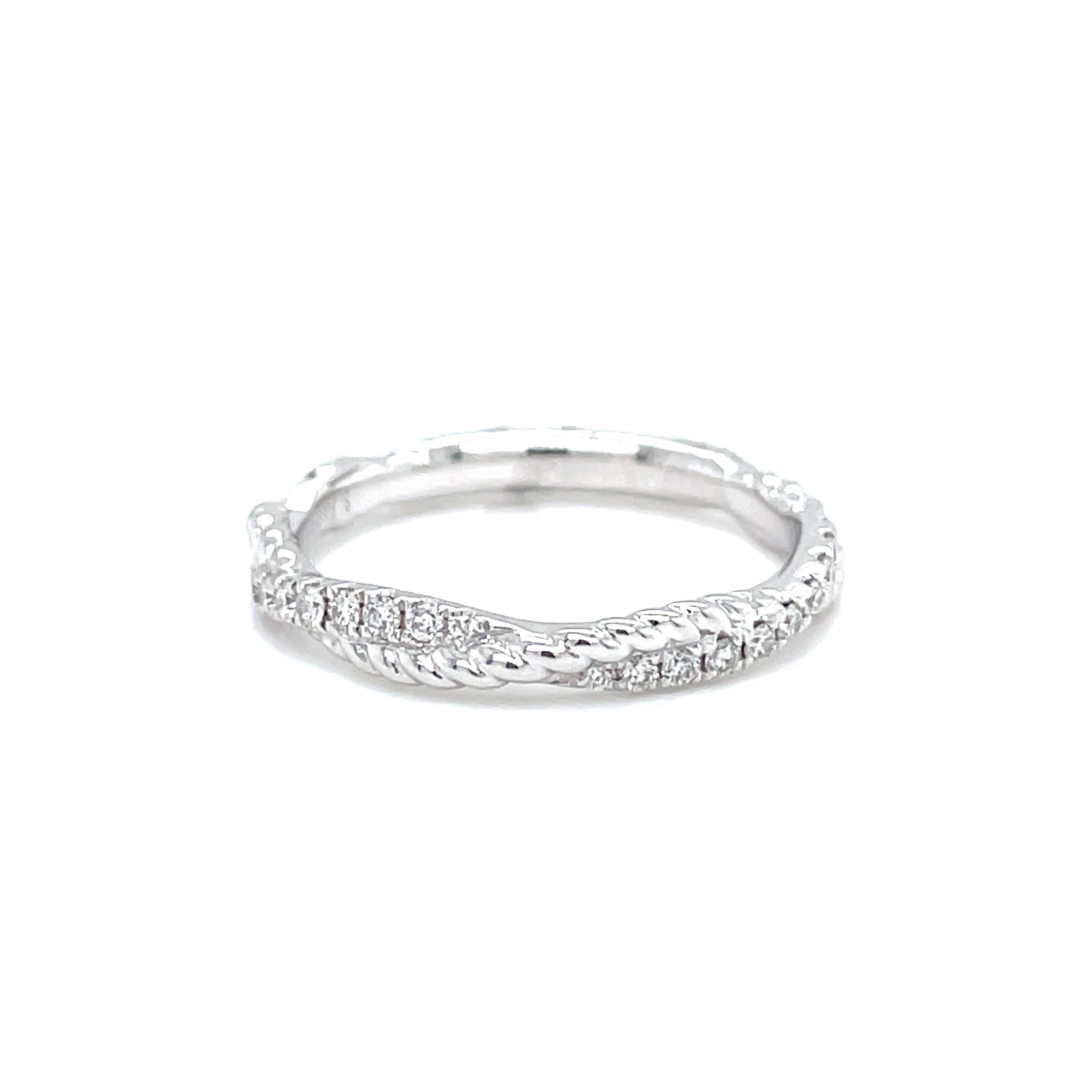 14k White Gold Diamond Braid Ring