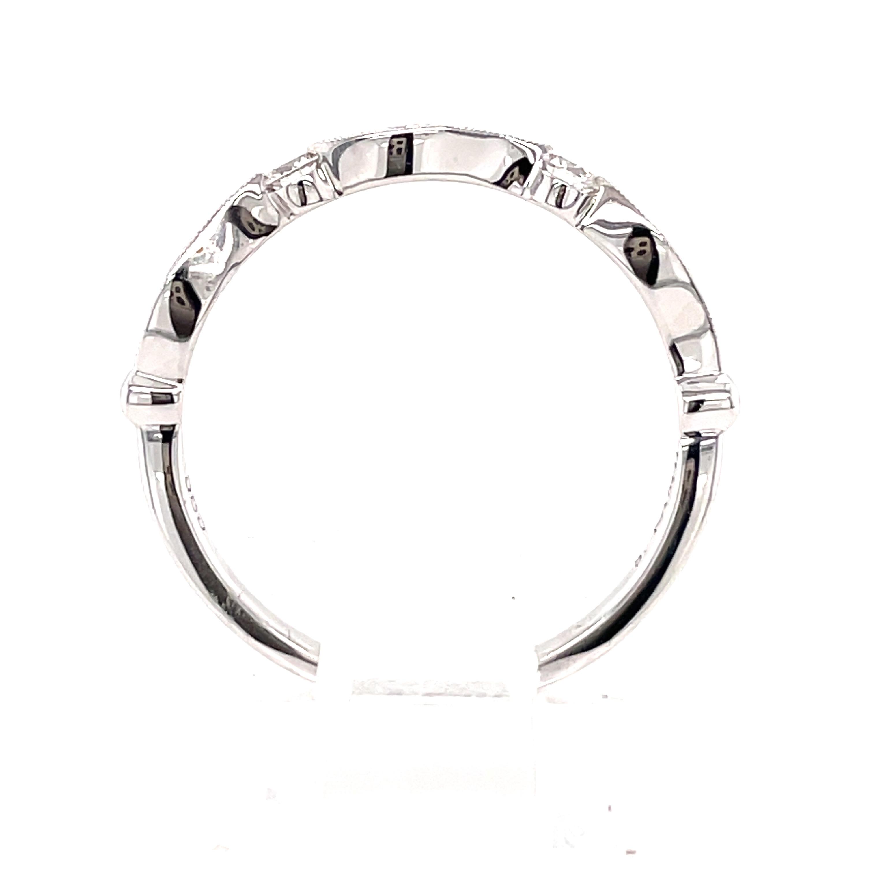 14k White Gold Diamond Curve Milgrain Ring