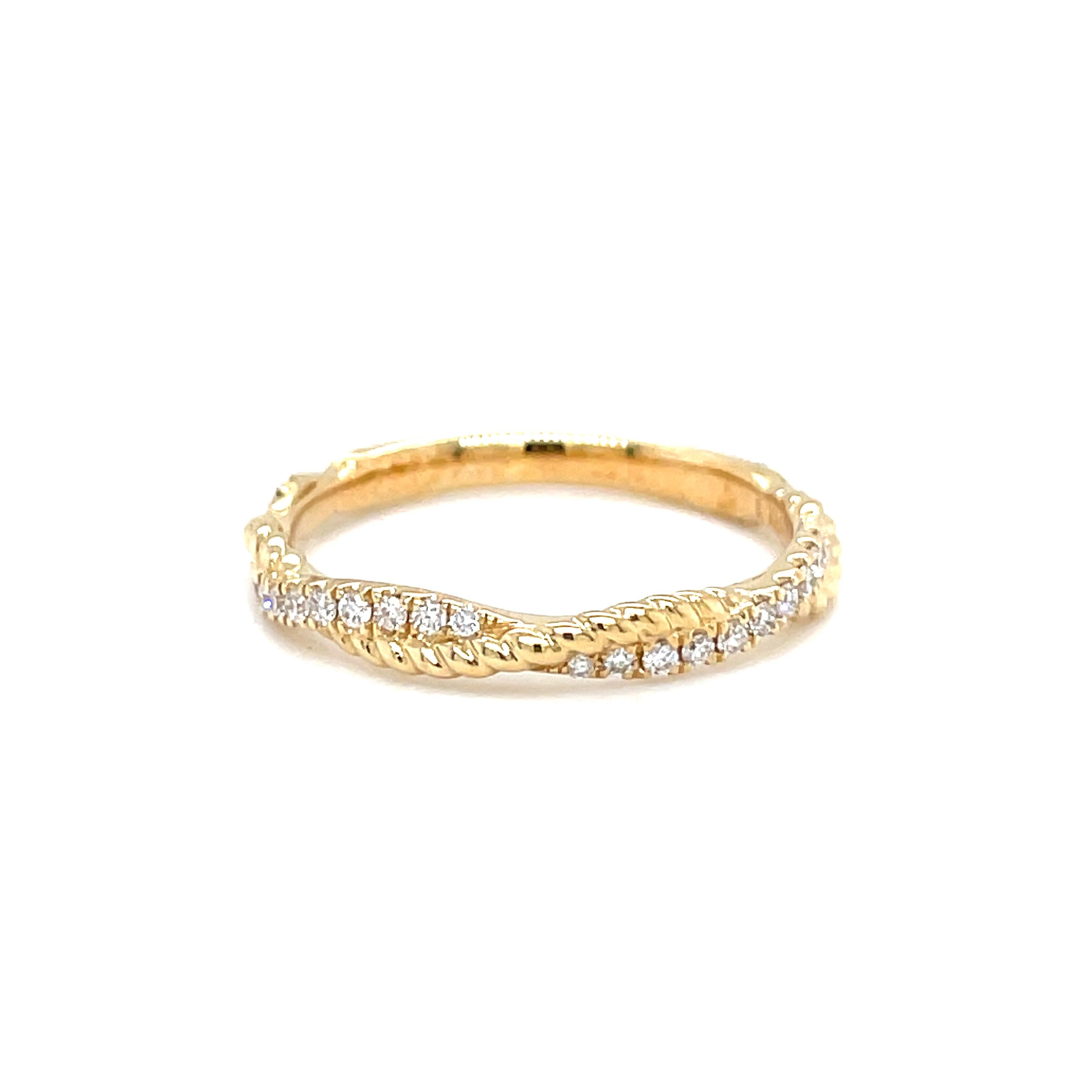 14k Yellow Gold Diamond Rope Twist Ring
