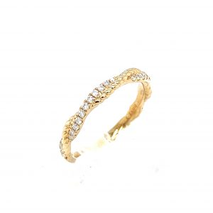 14k Yellow Gold Diamond Rope Twist Ring