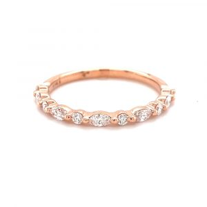14k Rose Gold Marquise and Round Diamond Band